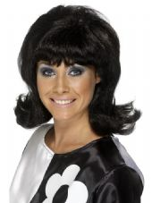 1960's Flick-Up Wig In Black